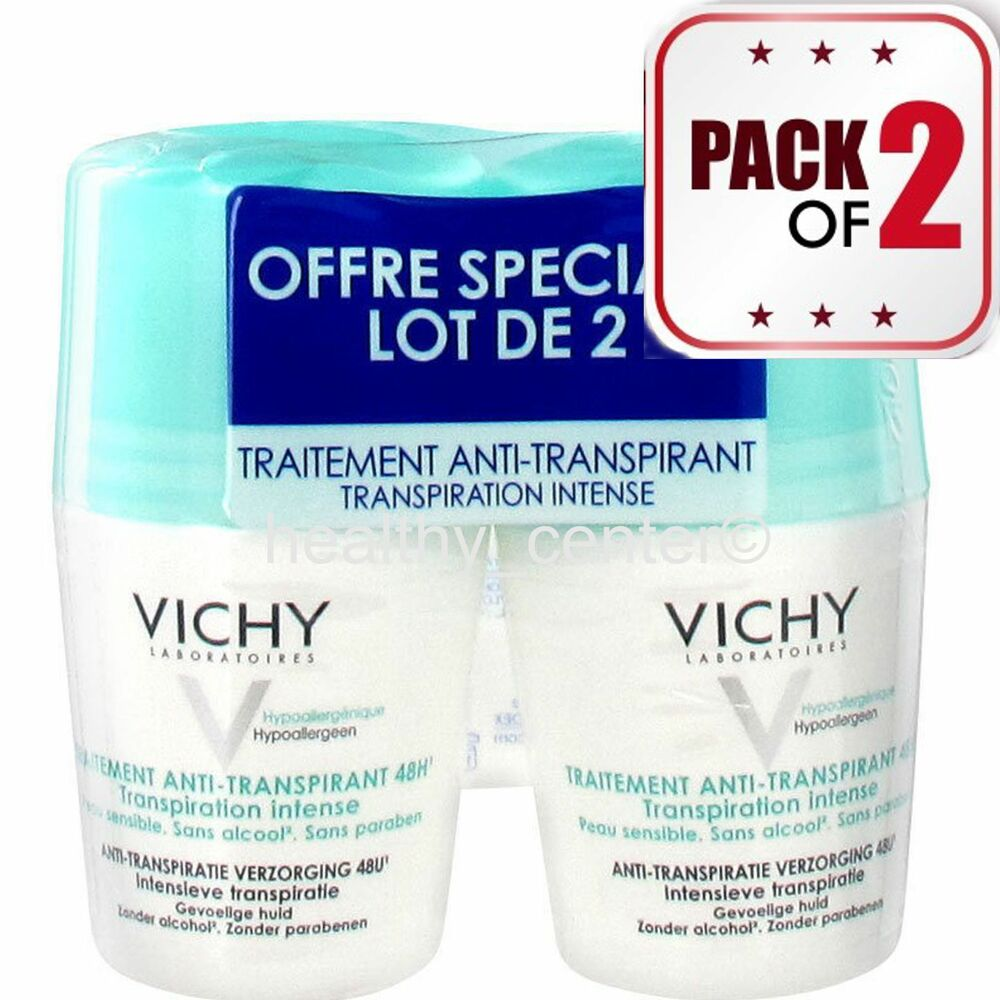 vichy 48h anti perspirant anti transpirant deodorant roll on 2x50ml pack of 2 ebay. Black Bedroom Furniture Sets. Home Design Ideas