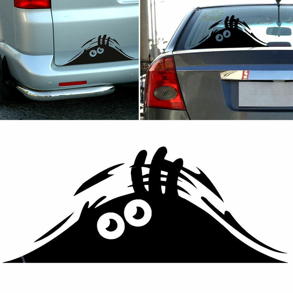 peeking monster scary eyes decal sticker funny vinyl car. Black Bedroom Furniture Sets. Home Design Ideas