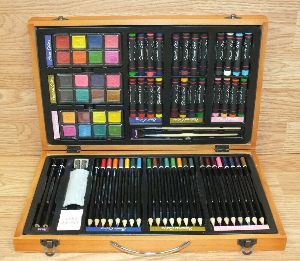 79 piece studio art craft supplies set in wood box for Wooden craft supplies online