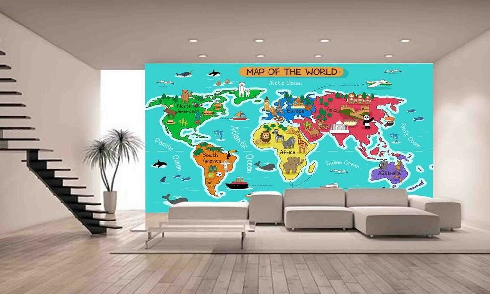 map of the world wall mural photo wallpaper giant decor paper poster free paste ebay. Black Bedroom Furniture Sets. Home Design Ideas