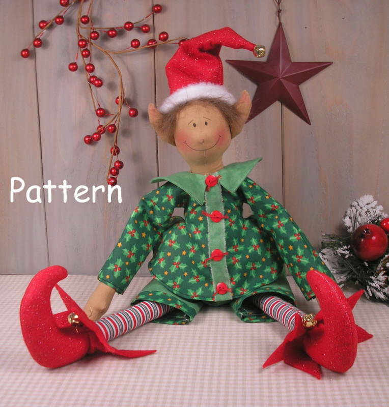 PATTERN Christmas Elf Primitive Vintage Raggedy Cloth Doll