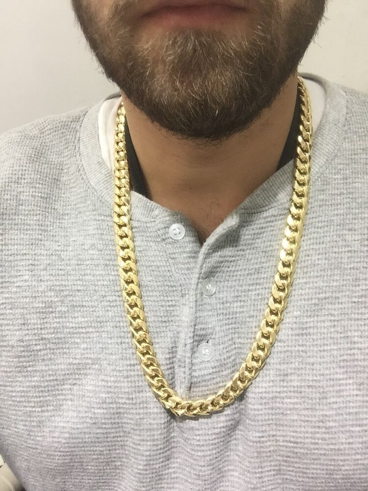 14k Yellow Solid Gold Men S Miami Cuban Link Chain 28