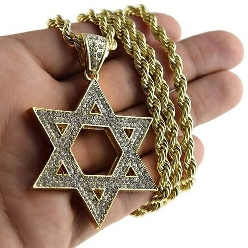 Star of david pendant jewish kabbalah charm gold finish for Star of david necklace mens jewelry