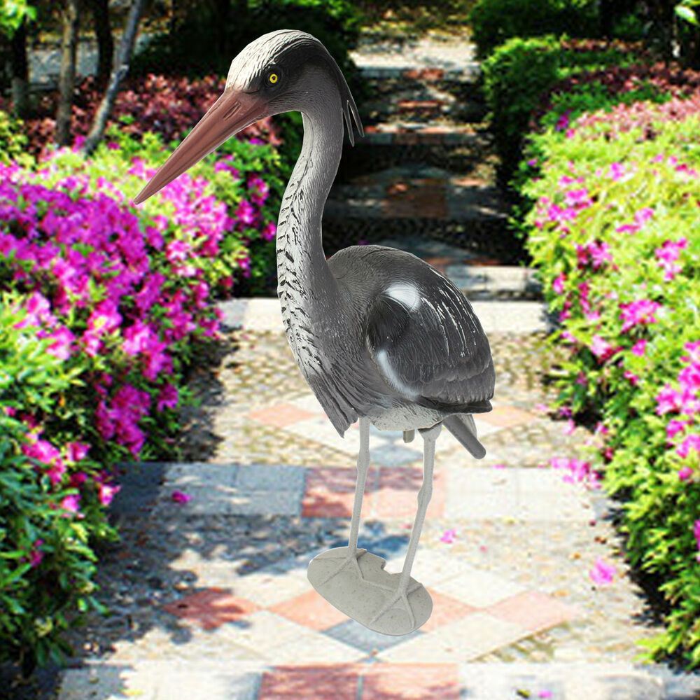 large plastic resin decoy heron garden ornament bird
