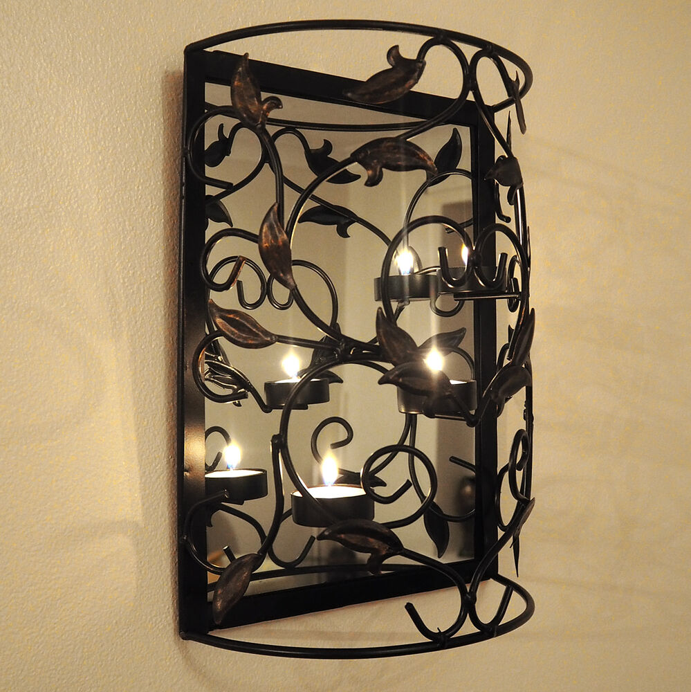Wall Mounted Metal Candle Holder with Mirror/Sconce/Shabby Chic/TeaLight/Decor eBay