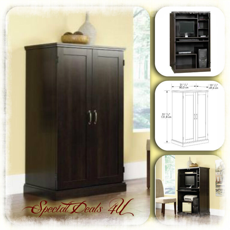 computer armoire desk cabinet sauder wood hutch credenza. Black Bedroom Furniture Sets. Home Design Ideas