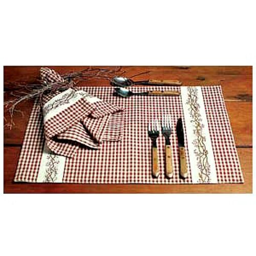 New Country Primitive BERRY VINE Burgundy Check Placemat