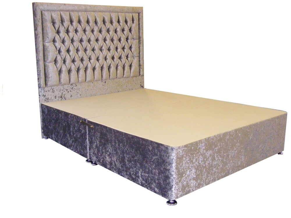 4ft6 double silver crushed velvet divan storage bed for Storage divan double bed