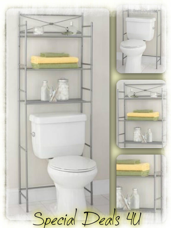 Bathroom Space Saver Storage Cabinet Over The Toilet Shelf Metal Rack Towel Soap Ebay