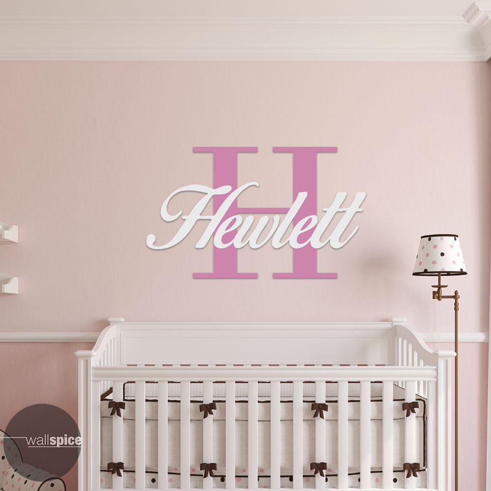 Personalized Family Name Monogram With Initial 2 Color Combo Vinyl
