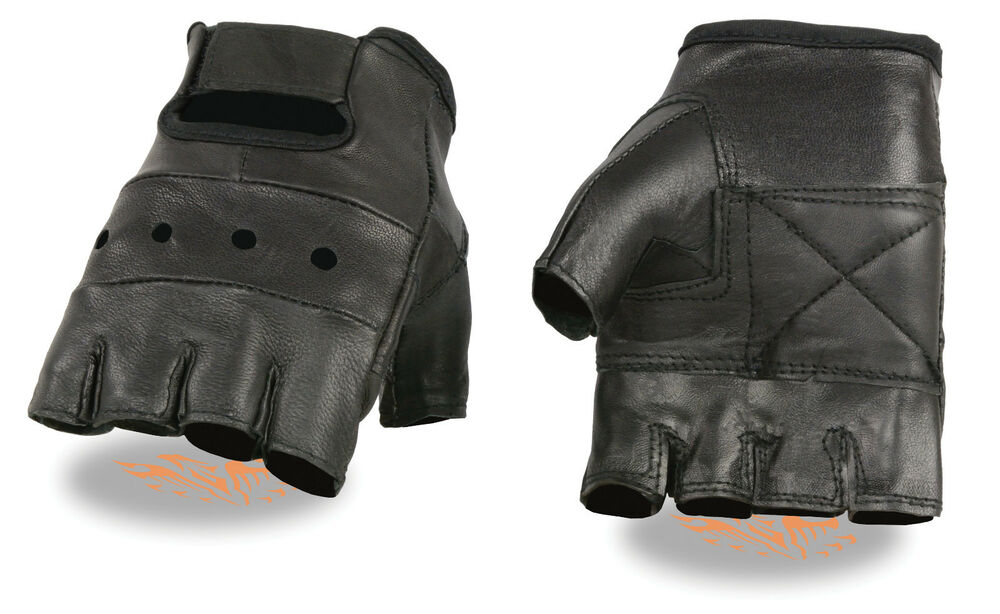 Men's Leather Fingerless Glove for Motorcycle, Truckers or ...