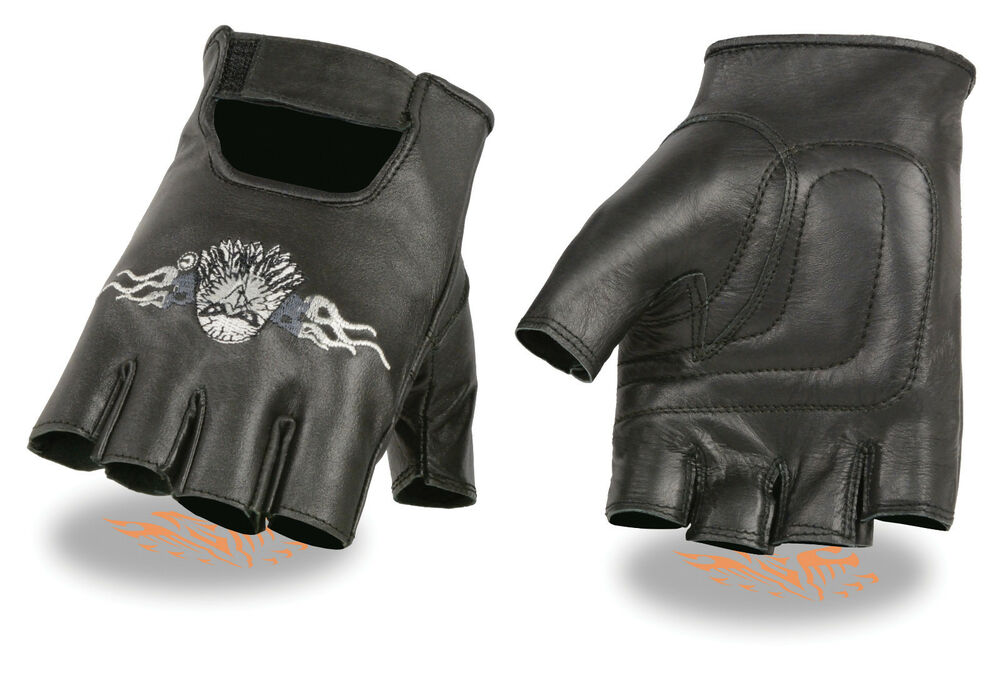 Men's Leather Eagle Head Embroidered Motorcycle Fingerless ...