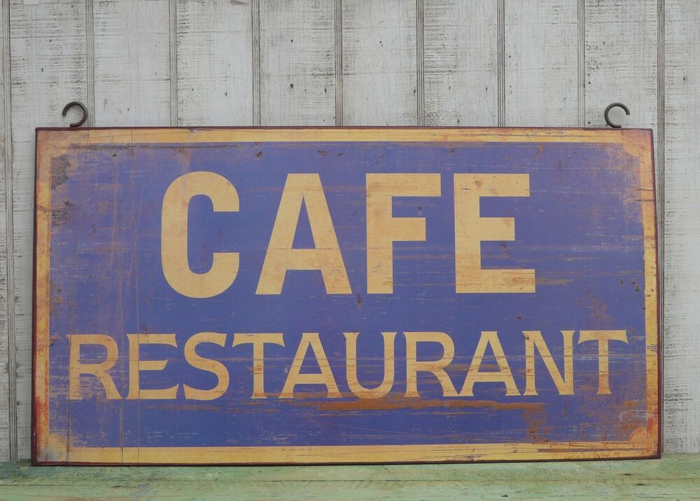 Large primitive vintage cafe restaurant sign farmhouse