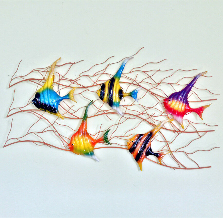 Colorful Wall Decor: Home Garden Decor Colorful Metal Fish Wall Sculpture Wall
