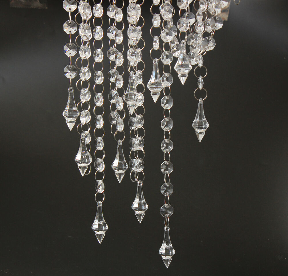 33ft clear crystal acrylic chain garland chandelier for Plastic chandeliers for parties