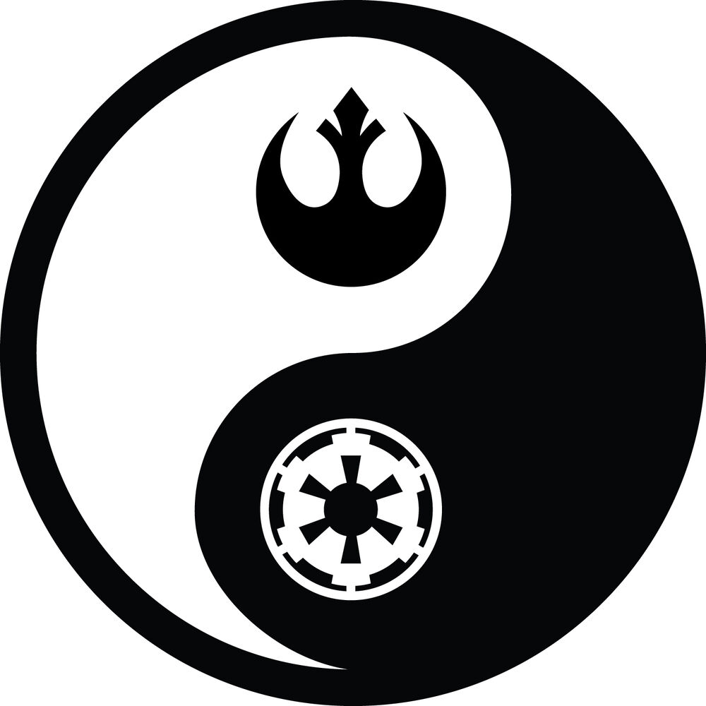 star wars empire rebellion themed yin yang vinyl decal. Black Bedroom Furniture Sets. Home Design Ideas