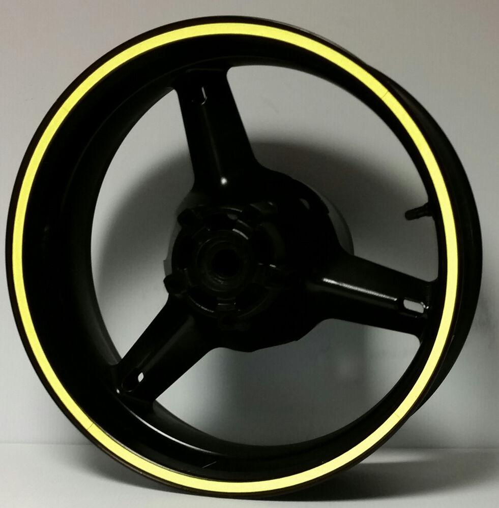 Yellow Reflective Motorcycle Wheel Stripes Rim Stickers