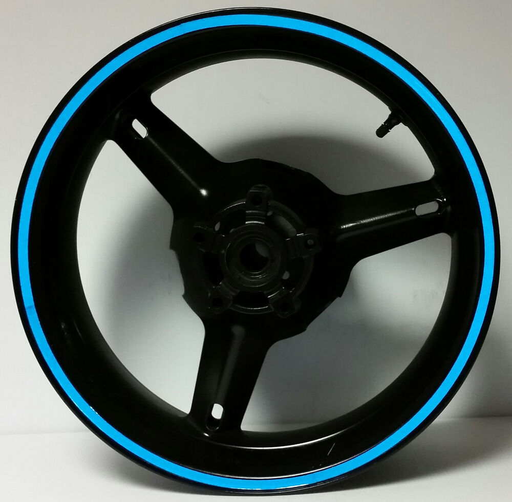 Blue Reflective Motorcycle Wheel Stripes Rim Stickers Tape