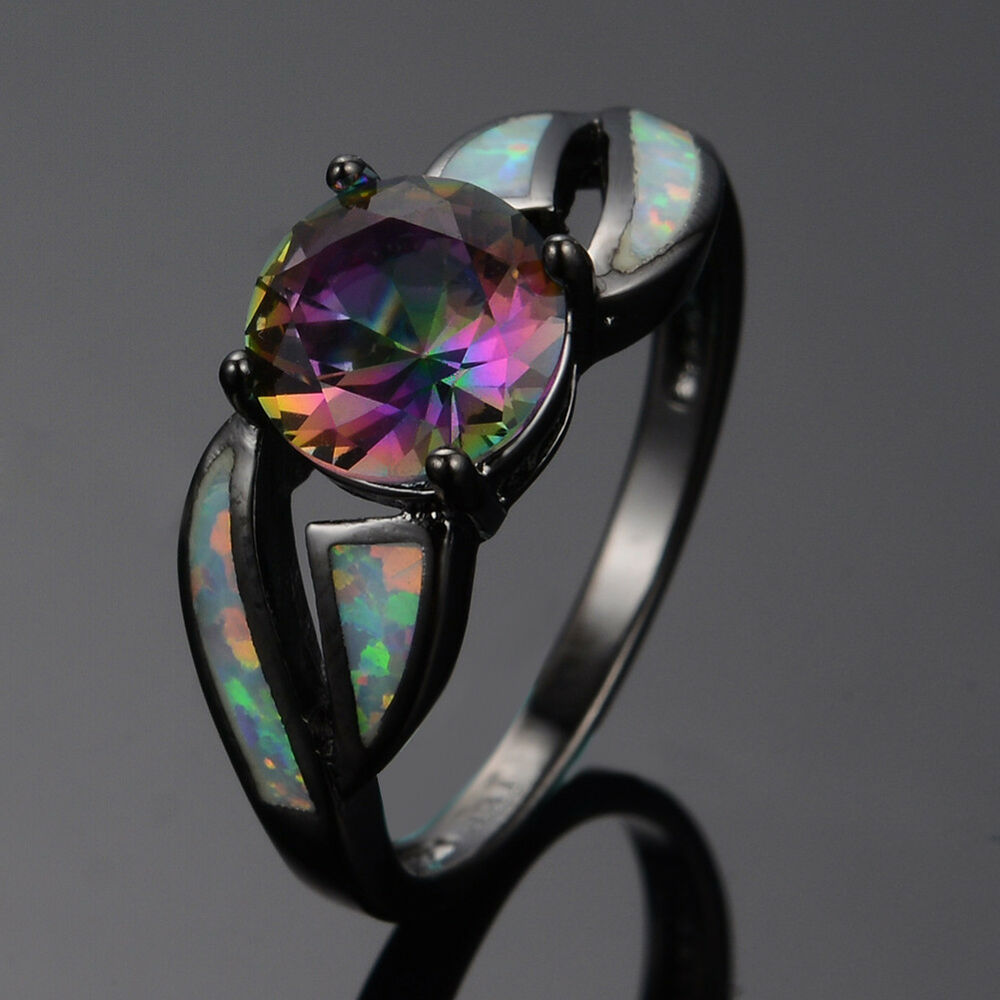 round cut mystic rainbow topaz wedding ring fire opal. Black Bedroom Furniture Sets. Home Design Ideas