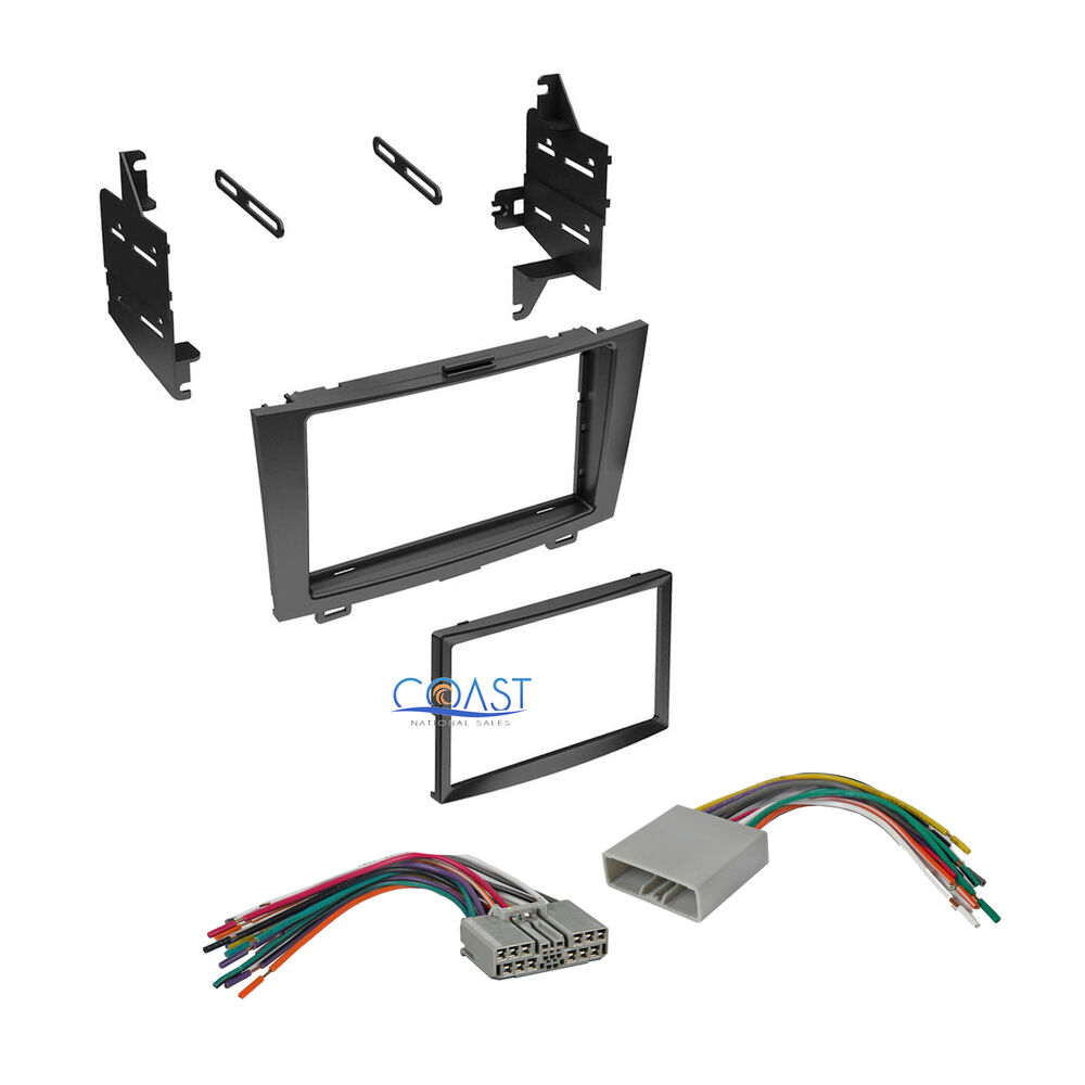 Double din car stereo dash kit wiring harness for