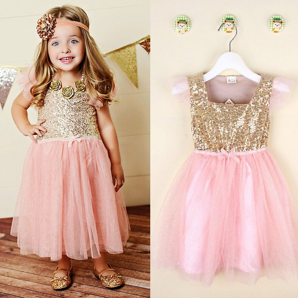 Flower Girls Kids Toddler Baby Princess Party Gold Sequins ...