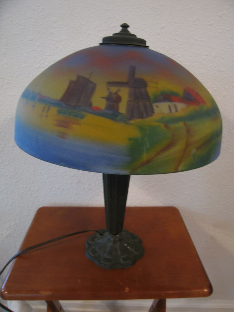 Antiique Phoenix Glass Reverse Painted Chipped Ice Lamp