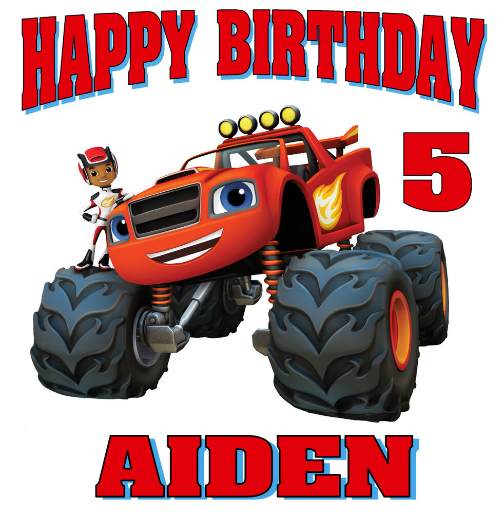 New Blaze Monster Machines Personalized Birthday Shirt