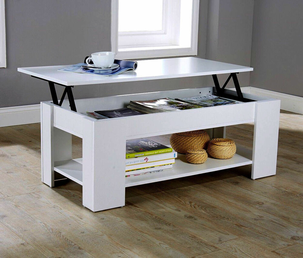 Modern contemporary white lift up top storage shelf coffee table undershelf uk ebay Coffee table with shelf