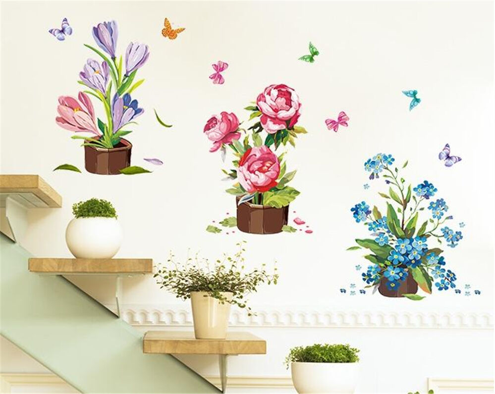 Flower Pot Drawing Home Room Decor Removable Wall Stickers
