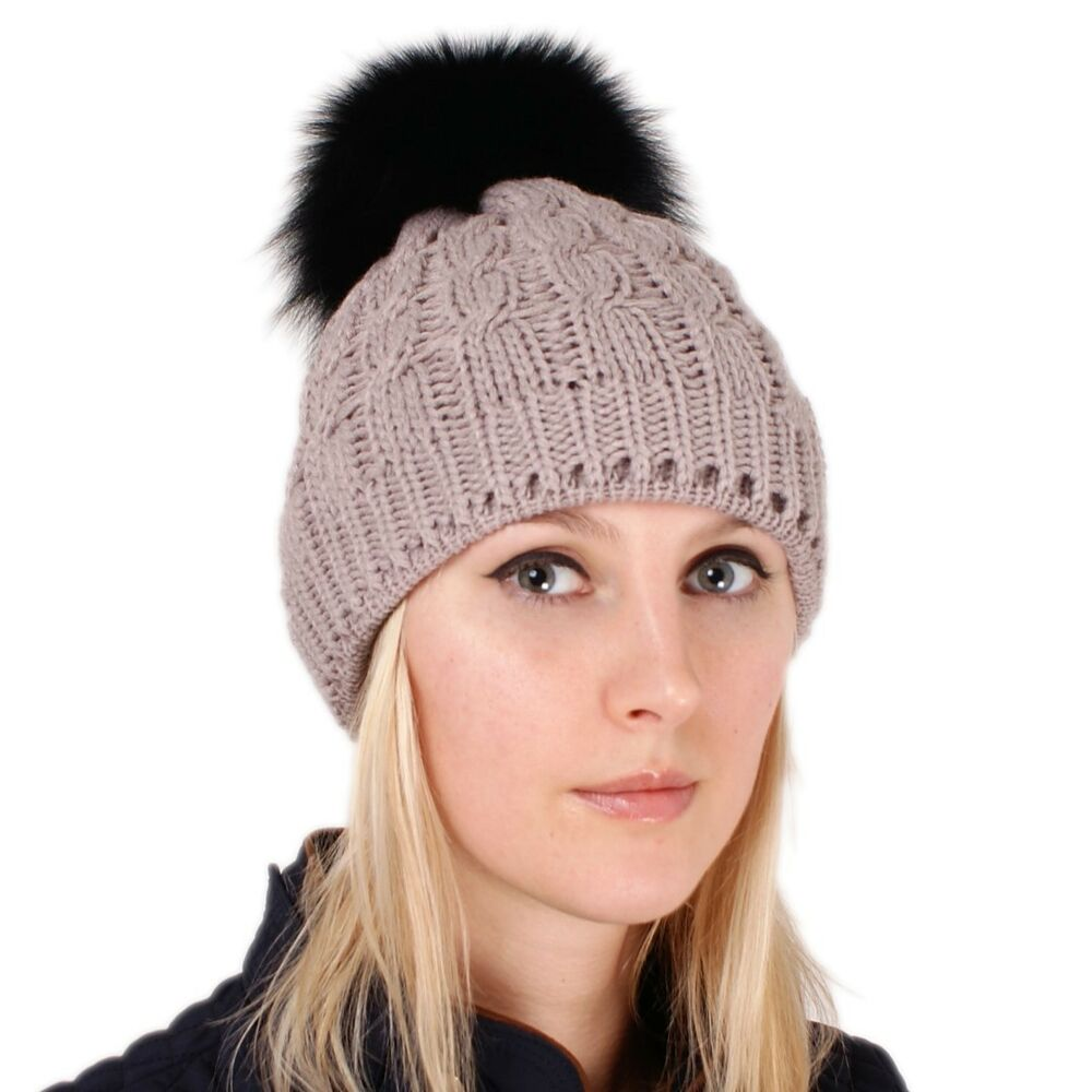 Details about Beige Wool Hat with Black Fox Fur Pom Pom! Beanie Winter Cap  Bobble Hat Ski FOX 85fc53e64aab