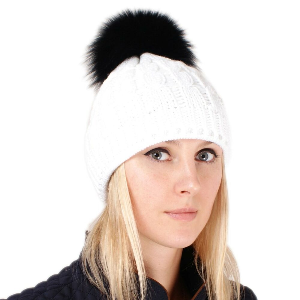 Details about White Wool Hat with Black Fox Fur Pom Pom! Beanie Winter Cap  Bobble Hat Ski FOX 6232b981c202