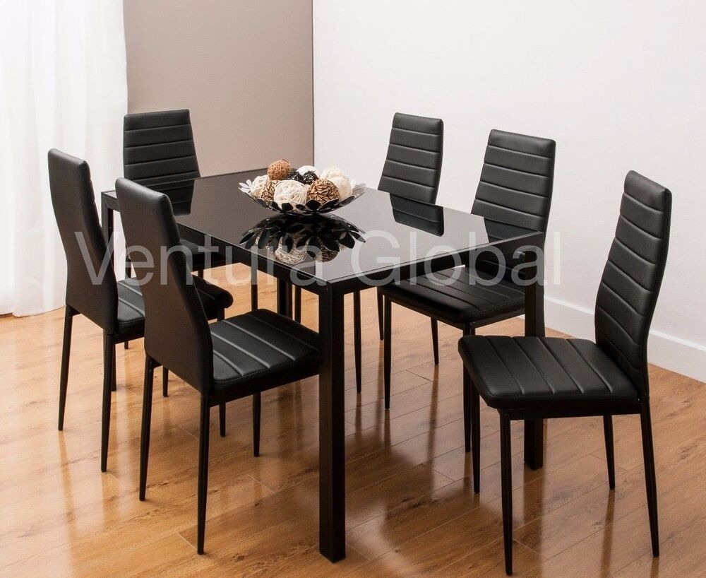 Glass dining table set with 4 or 6 faux leather rib chairs for White dining table and 6 chairs