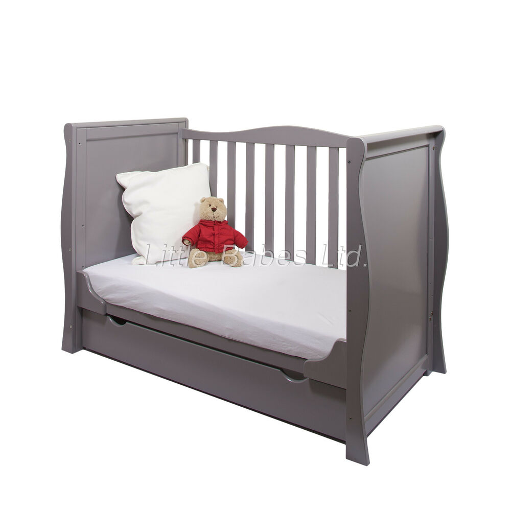 new pine wood grey sleigh mini cot bed drawer british made safety mattress ebay. Black Bedroom Furniture Sets. Home Design Ideas