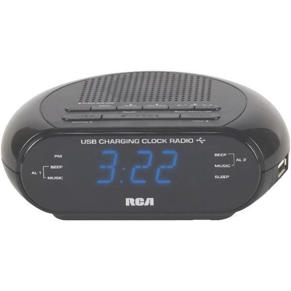 usb dual alarm clock radio battery backup free shipping 44476086526 ebay. Black Bedroom Furniture Sets. Home Design Ideas