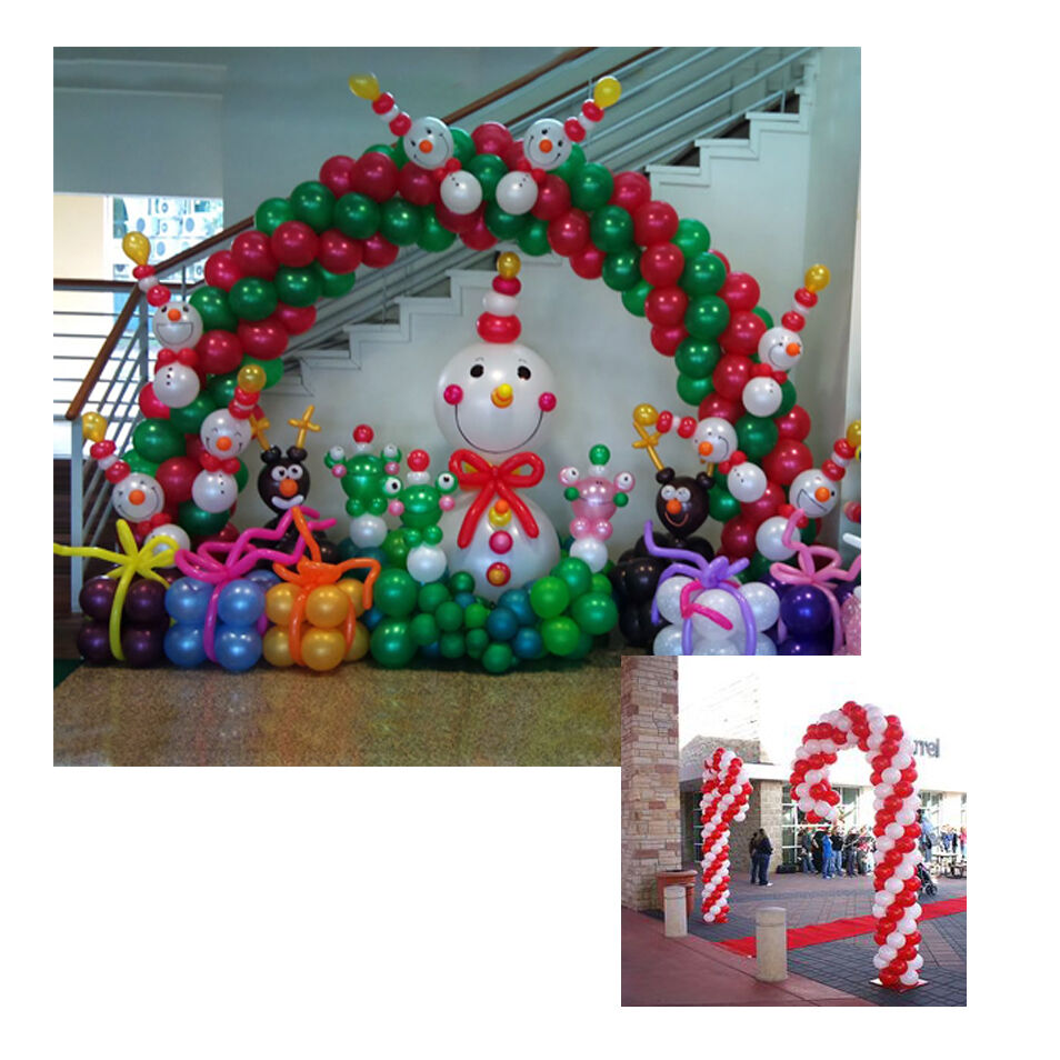 Christmas balloon arch 2 candy cane frame use air for Balloon arch no helium