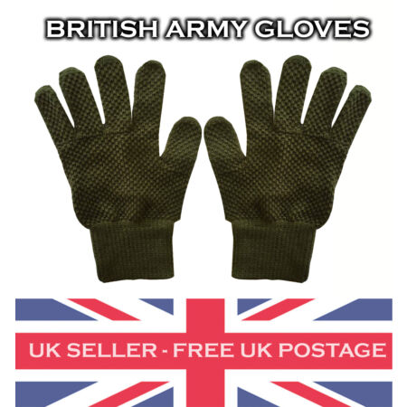 img-Olive Green British Army Cadet Gloves Military Vintage Surplus Winter Wear