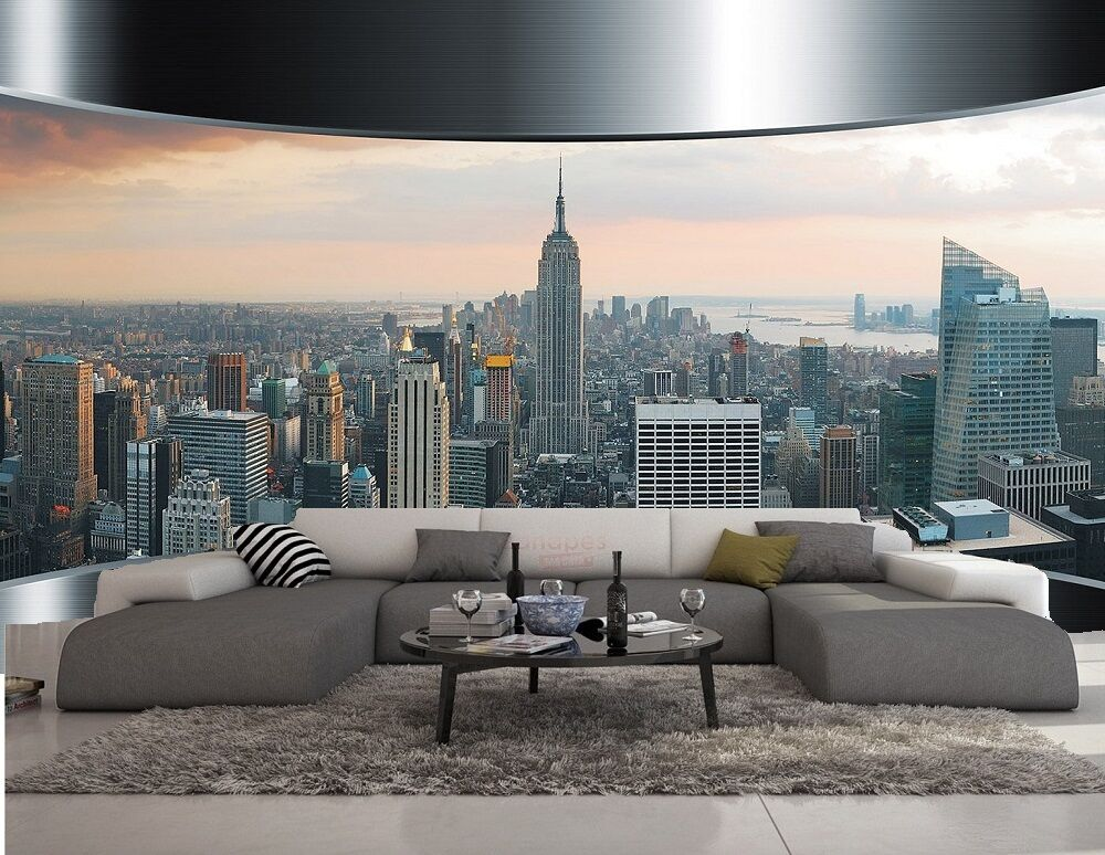 carta da parati 3d effeto new york metal foto murale design moderno ebay. Black Bedroom Furniture Sets. Home Design Ideas