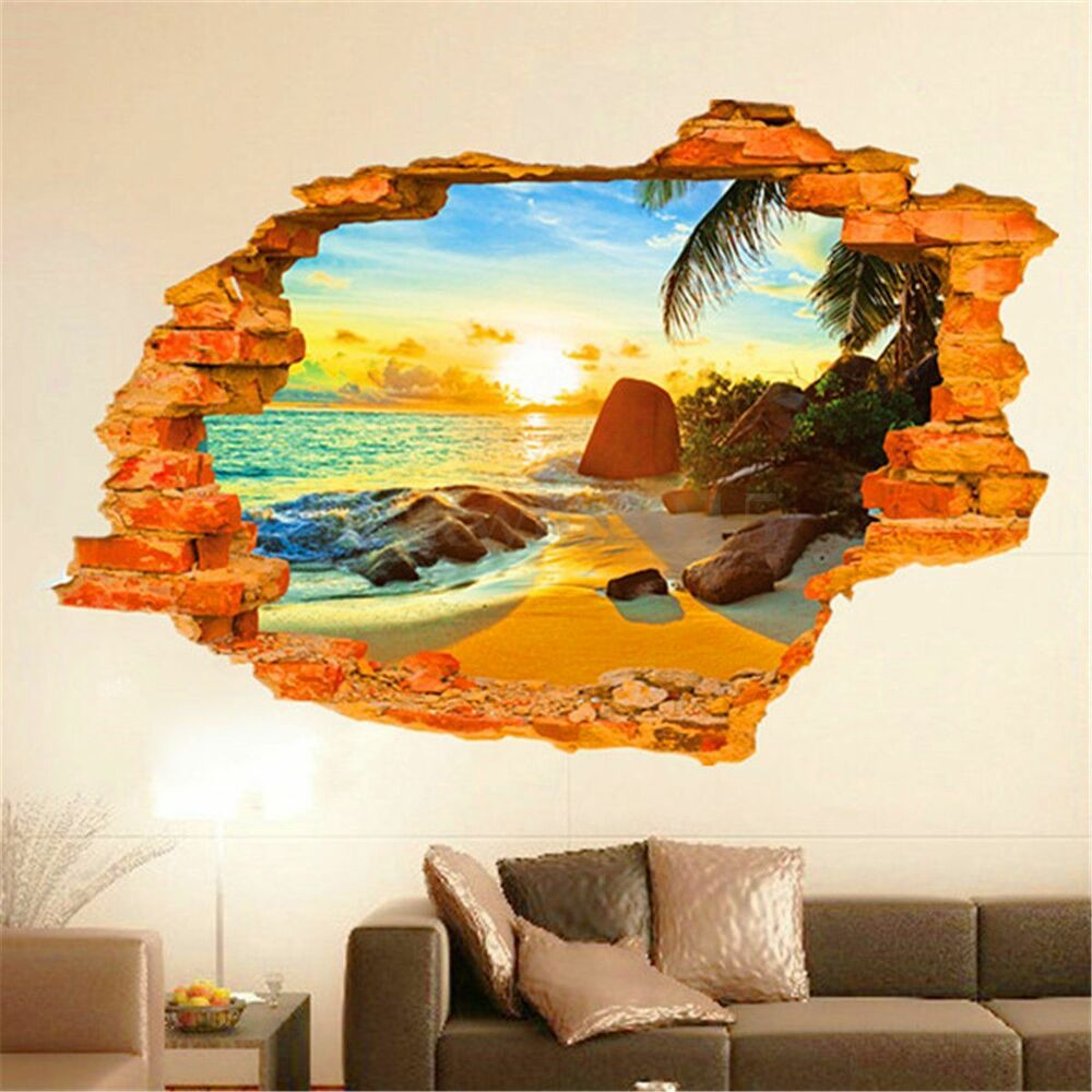 3d wall hole sea beach window wall sticker removable mural for Beach wall mural sticker
