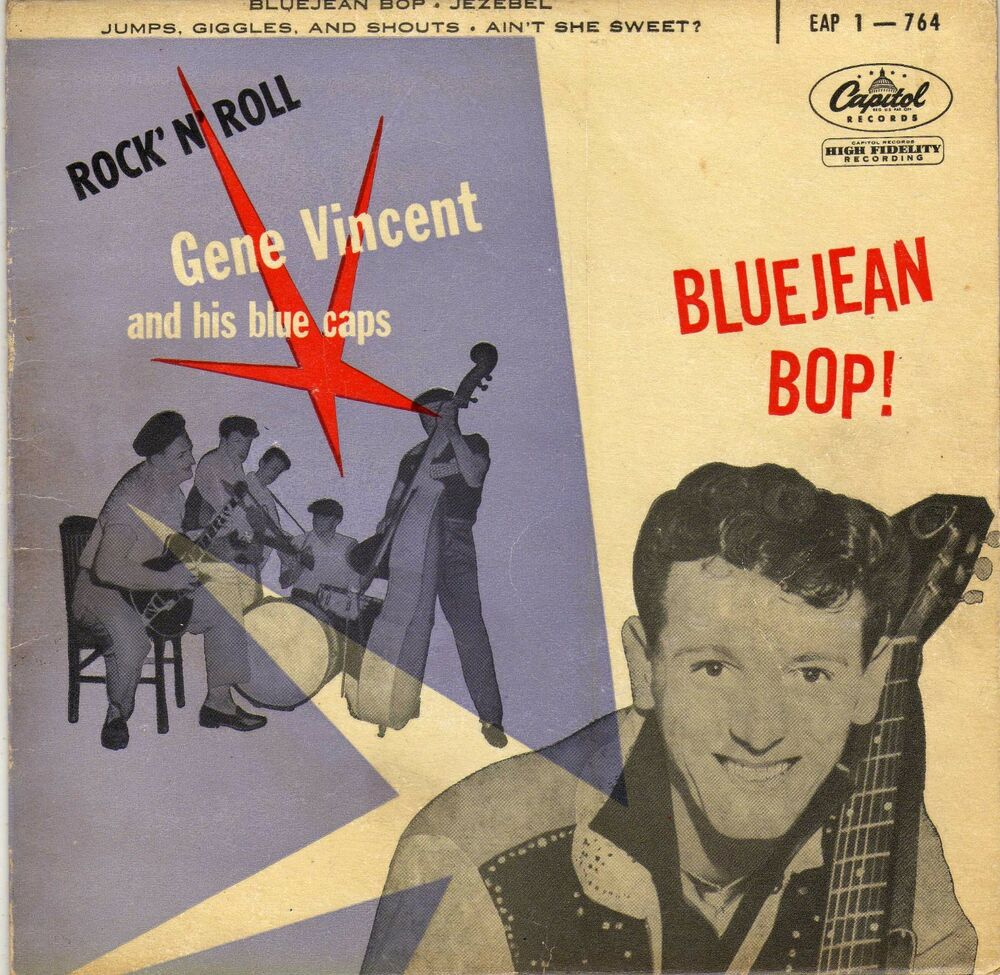 a3c9decdeb3 Details about GENE VINCENT AND HIS BLUE CAPS BLUEJEAN BOP FRENCH ORIG EP 45  PS 7