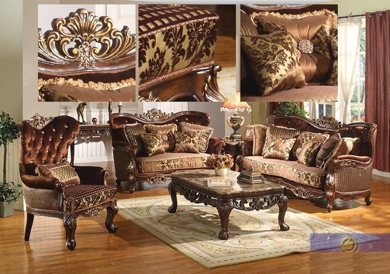 Formal traditional sofa set 2 pc antique sofa loveseat for Traditional living room furniture