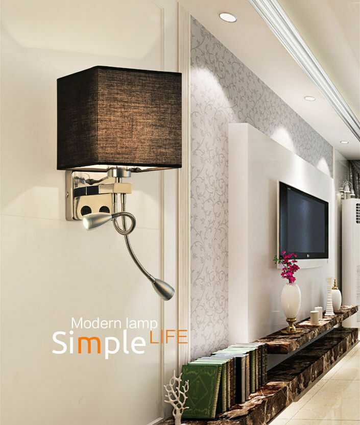 Modern led wall light bed lamp reading light hotel bedroom for Wall light fixtures bedroom