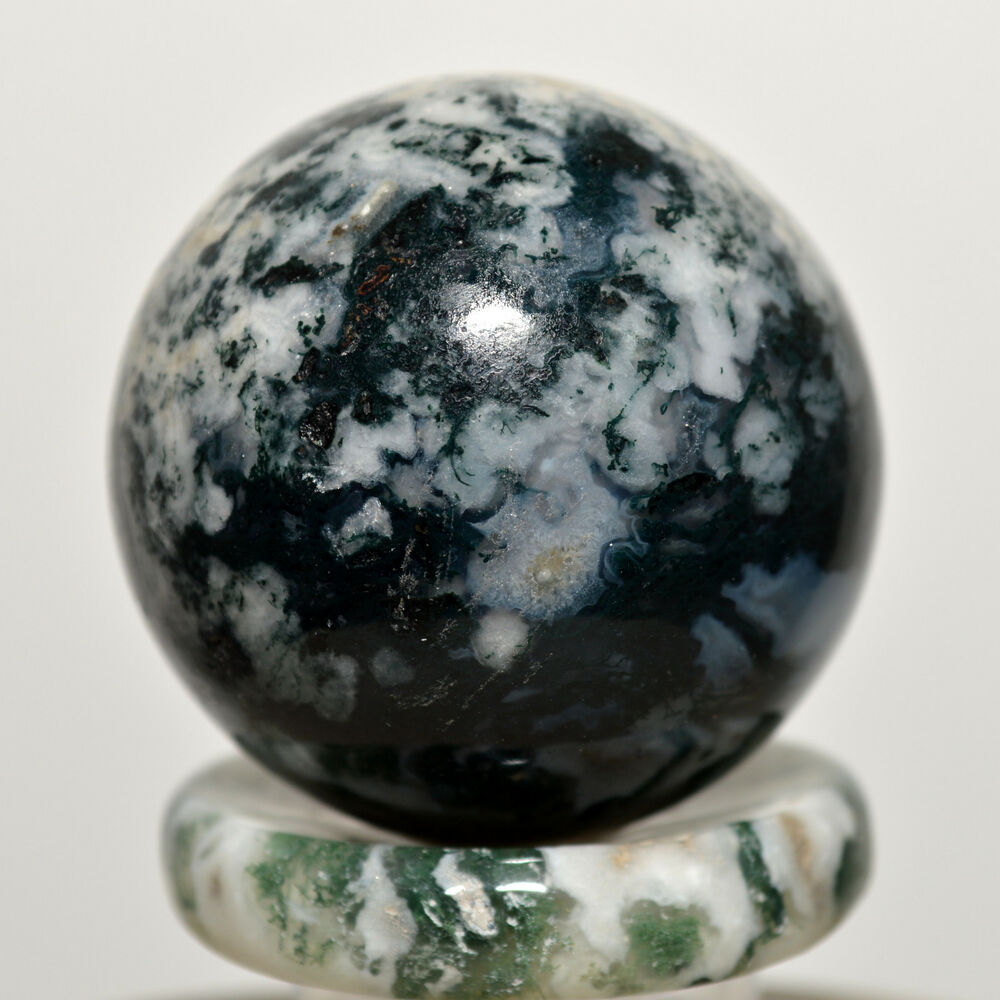 40mm Blue Green Moss Agate Sphere Crystal Gemstone Mineral