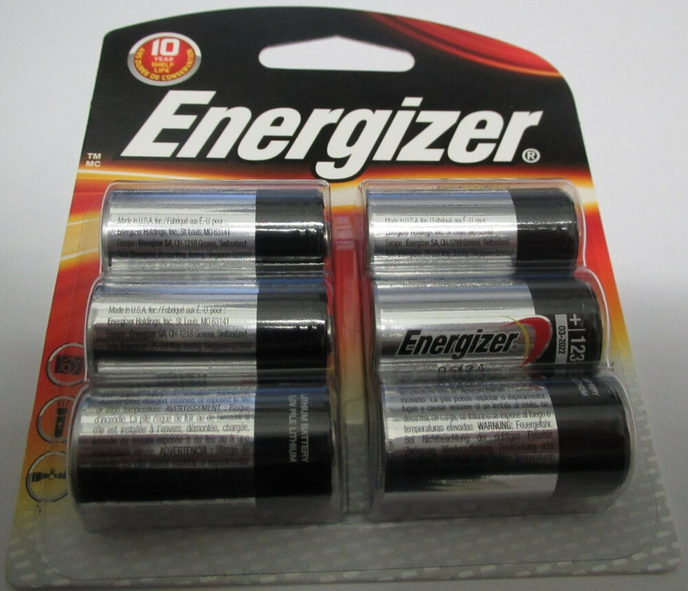 new genuine fresh energizer cr123a 3v lithium photo 123a batteries 6 pack 123 ebay. Black Bedroom Furniture Sets. Home Design Ideas