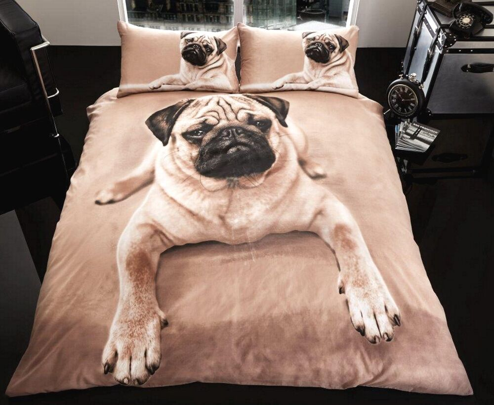 New Pug Dog Design Single Or Double Bedding Bed Set Girls