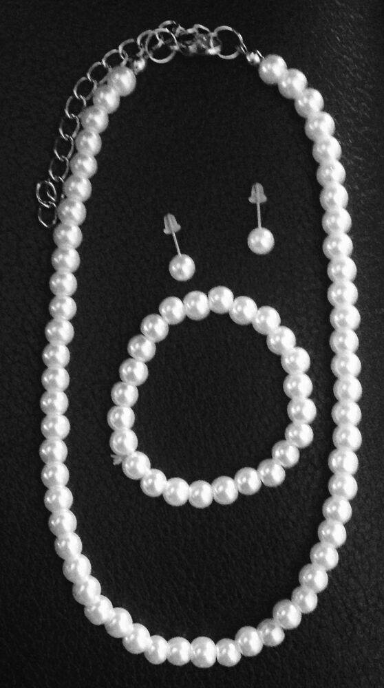 flower girl jewelry sets wedding 3 white faux pearl necklace wedding jewelry set 4184