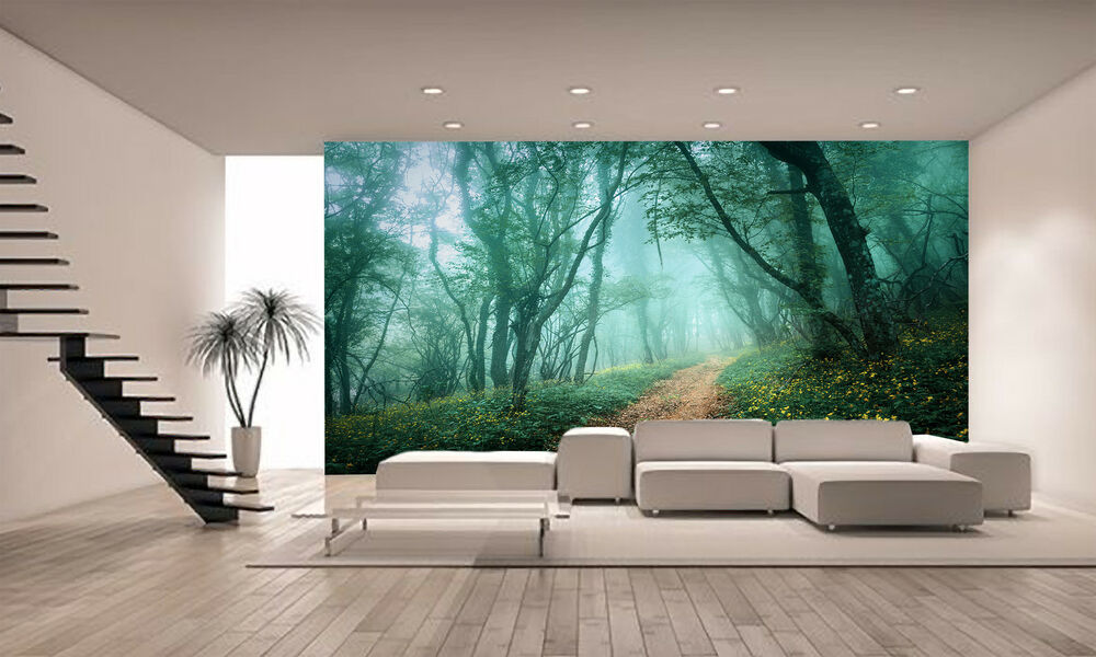 mysterious dark forest wall mural photo wallpaper giant decor paper poster ebay. Black Bedroom Furniture Sets. Home Design Ideas
