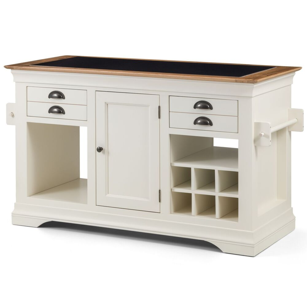Kitchen Island With Granite Top: Palais Cream Painted Furniture Large Granite Top Kitchen
