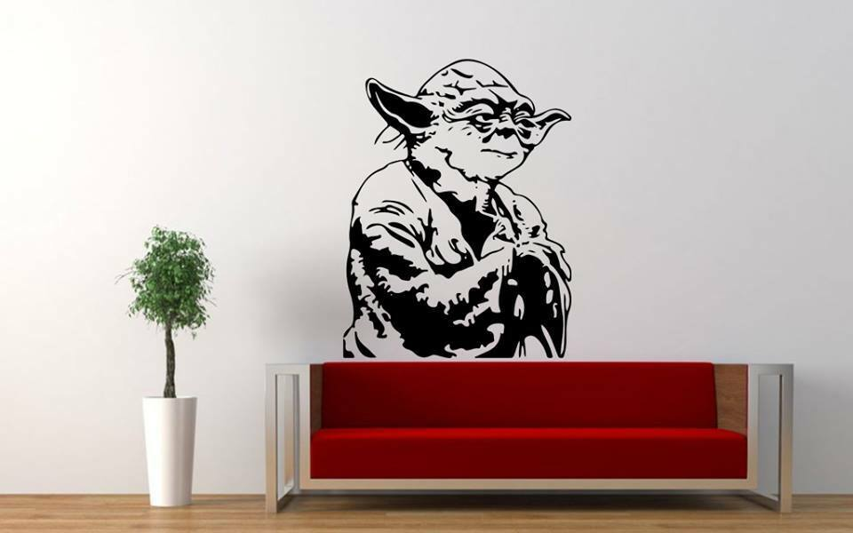 star wars yoda bedroom quote wall stickers art room removable decals diy ebay. Black Bedroom Furniture Sets. Home Design Ideas