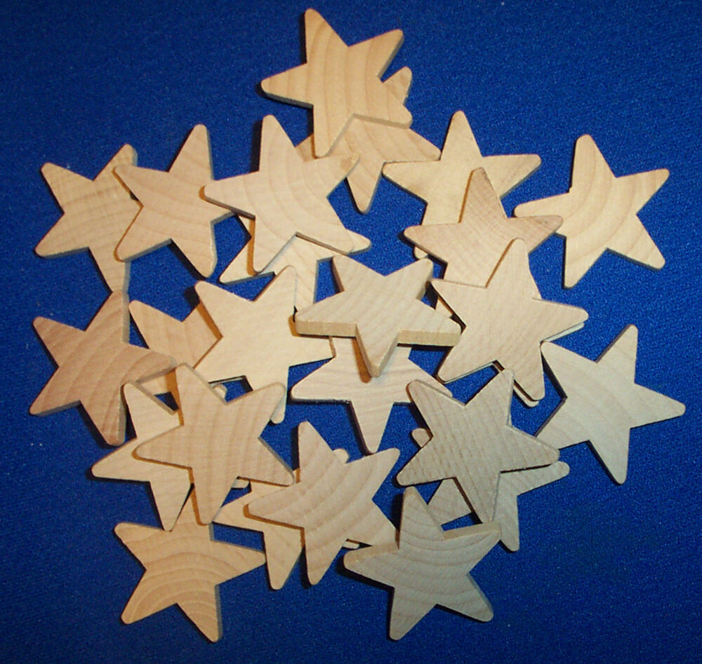 De S About 25 Natural Unfinished Wood Wooden Stars  Wood Stars Crafts New