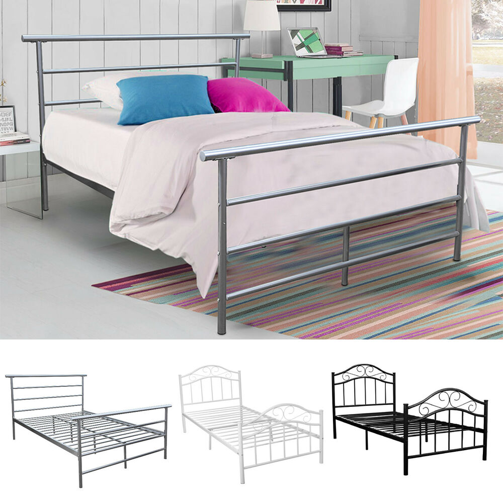 Twin full size metal bed platform frame bedroom heavy duty for Twin size childrens bed frames